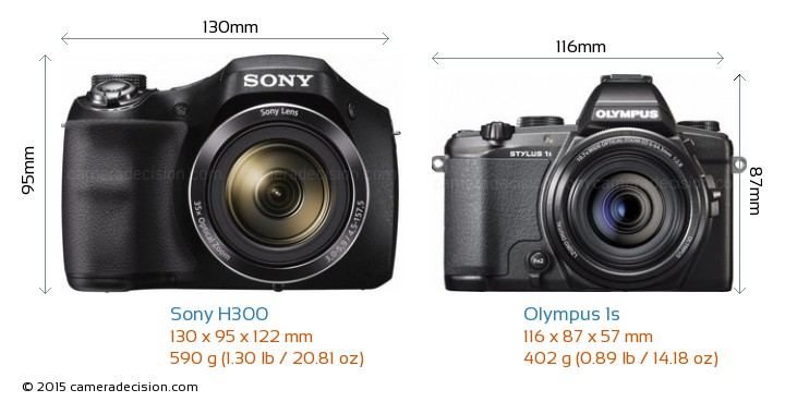 Sony H300 vs Olympus 1s Camera Size Comparison - Front View