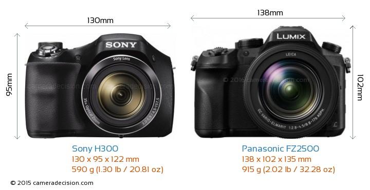 Sony H300 vs Panasonic FZ2500 Camera Size Comparison - Front View