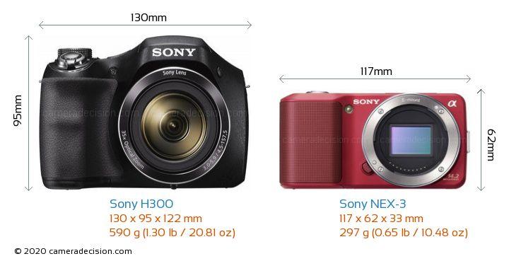 Sony H300 vs Sony NEX-3 Camera Size Comparison - Front View
