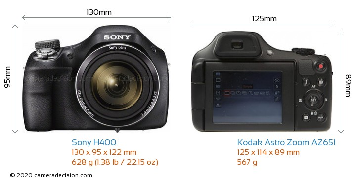 Sony H400 vs Kodak Astro Zoom AZ651 Camera Size Comparison - Front View