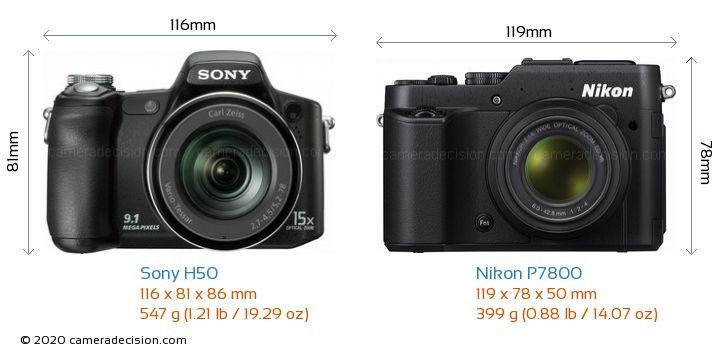 Sony H50 vs Nikon P7800 Camera Size Comparison - Front View
