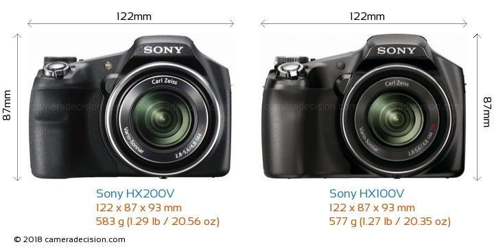 Sony HX200V vs Sony HX100V Camera Size Comparison - Front View