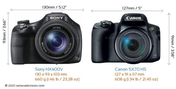 Sony HX400V vs Canon SX70 HS Camera Size Comparison - Front View