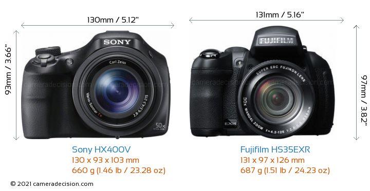 Sony HX400V vs Fujifilm HS35EXR Camera Size Comparison - Front View