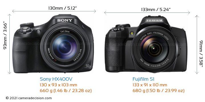 Sony HX400V vs Fujifilm S1 Camera Size Comparison - Front View