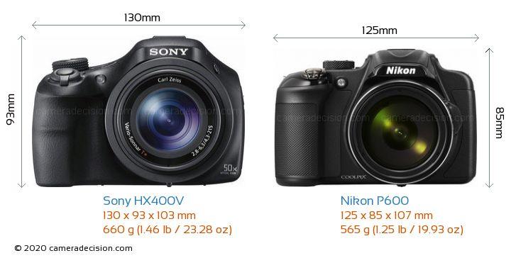 Sony HX400V vs Nikon P600 Camera Size Comparison - Front View