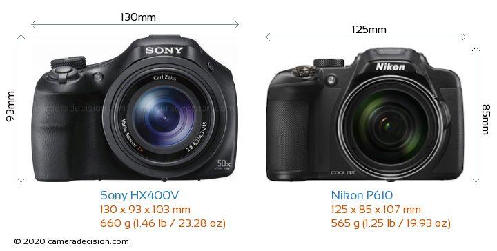 Sony HX400V vs Nikon P610 Camera Size Comparison - Front View