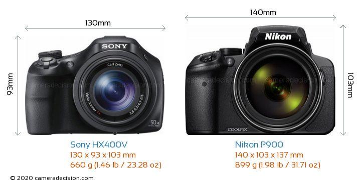 Sony HX400V vs Nikon P900 Camera Size Comparison - Front View