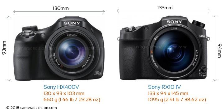 Sony HX400V vs Sony RX10 IV Camera Size Comparison - Front View