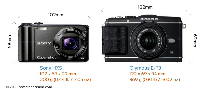 Sony HX5 vs Olympus E-P3 Camera Size Comparison - Front View
