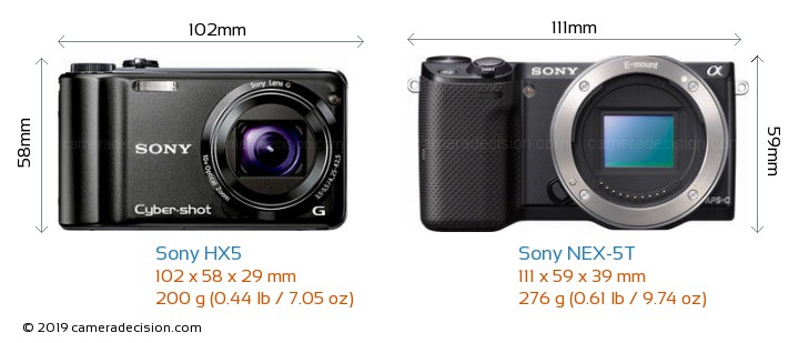Sony HX5 vs Sony NEX-5T Camera Size Comparison - Front View