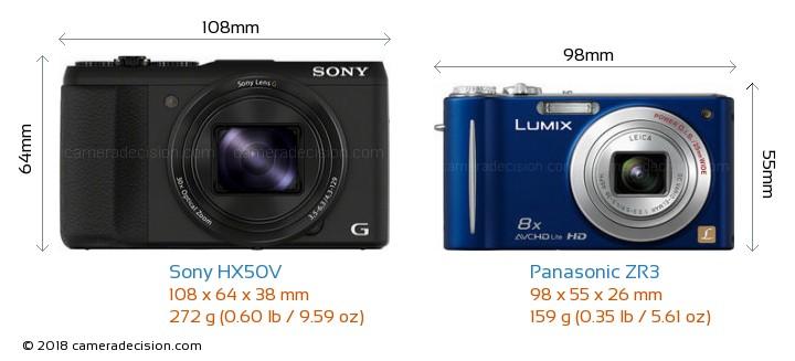 Sony HX50V vs Panasonic ZR3 Camera Size Comparison - Front View