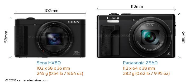 Sony HX80 vs Panasonic ZS60 Camera Size Comparison - Front View