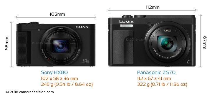 Sony HX80 vs Panasonic ZS70 Camera Size Comparison - Front View