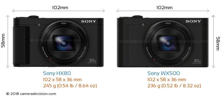 Sony HX80 vs Sony WX500 Camera Size Comparison - Front View