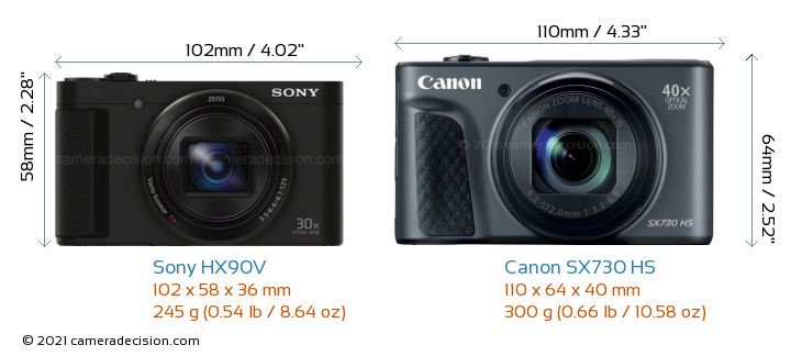 Sony HX90V vs Canon SX730 HS Camera Size Comparison - Front View
