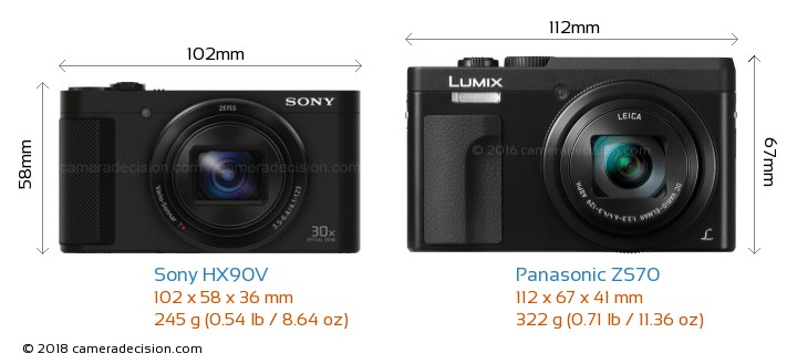 Sony HX90V vs Panasonic ZS70 Camera Size Comparison - Front View