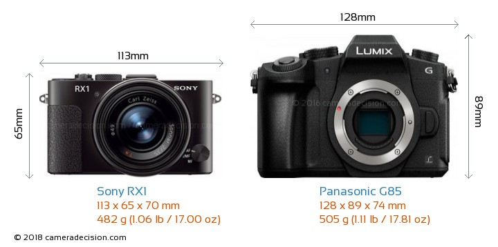 Sony RX1 vs Panasonic G85 Camera Size Comparison - Front View