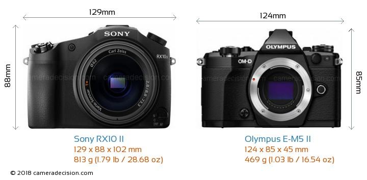 Sony RX10 II vs Olympus E-M5 II Camera Size Comparison - Front View