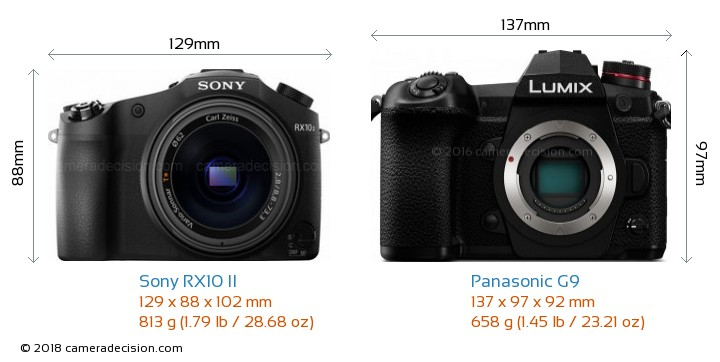 Sony RX10 II vs Panasonic G9 Camera Size Comparison - Front View