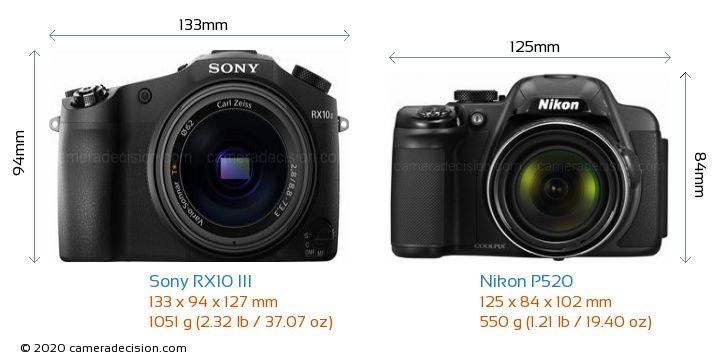 Sony RX10 III vs Nikon P520 Camera Size Comparison - Front View