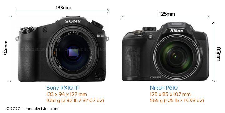 Sony RX10 III vs Nikon P610 Camera Size Comparison - Front View
