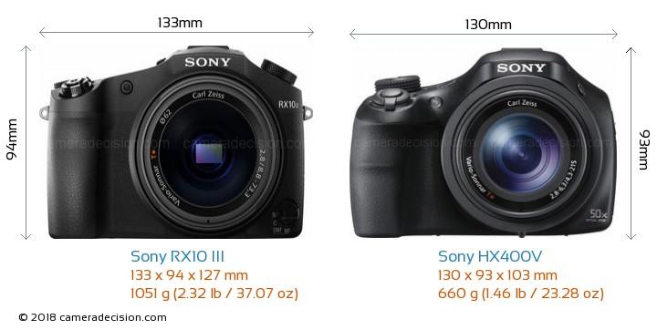 Sony RX10 III vs Sony HX400V Camera Size Comparison - Front View