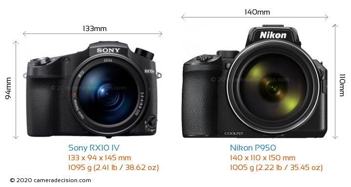 Sony RX10 IV vs Nikon P950 Camera Size Comparison - Front View