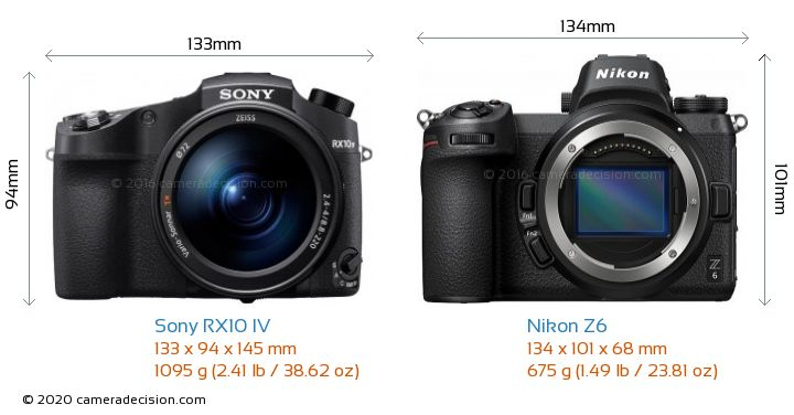 Sony RX10 IV vs Nikon Z6 Camera Size Comparison - Front View