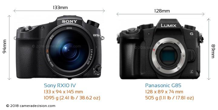 Sony RX10 IV vs Panasonic G85 Camera Size Comparison - Front View