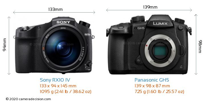 Sony RX10 IV vs Panasonic GH5 Camera Size Comparison - Front View