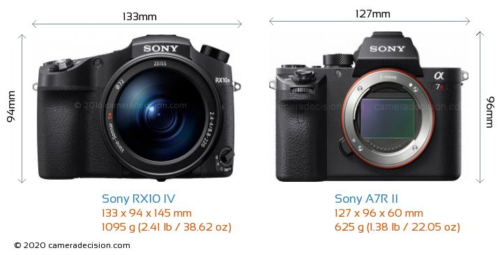 Sony RX10 IV vs Sony A7R II Camera Size Comparison - Front View