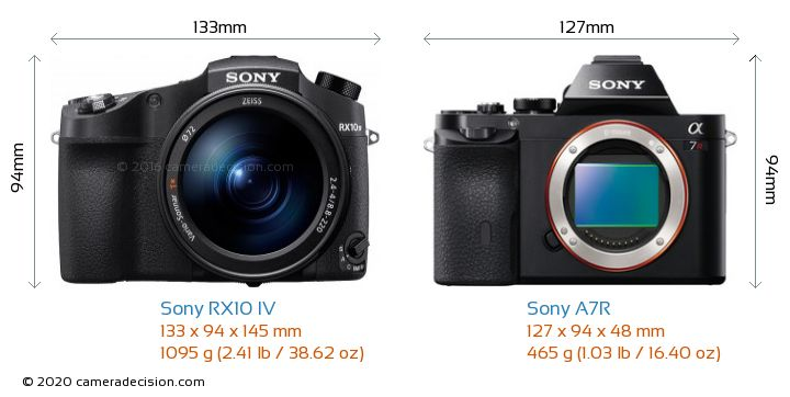 Sony RX10 IV vs Sony A7R Camera Size Comparison - Front View