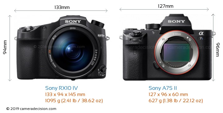 Sony RX10 IV vs Sony A7S II Camera Size Comparison - Front View