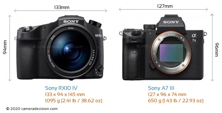 Sony RX10 IV vs Sony A7 III Camera Size Comparison - Front View