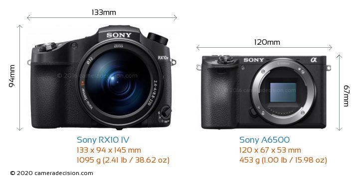 Sony RX10 IV vs Sony A6500 Camera Size Comparison - Front View