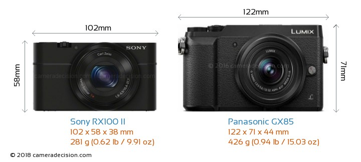 Sony RX100 II vs Panasonic GX85 Camera Size Comparison - Front View