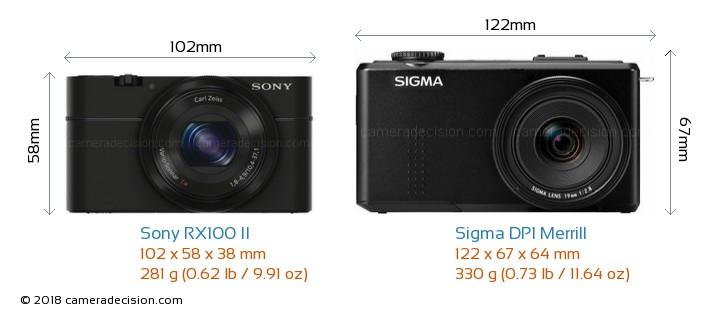 Sony RX100 II vs Sigma DP1 Merrill Camera Size Comparison - Front View