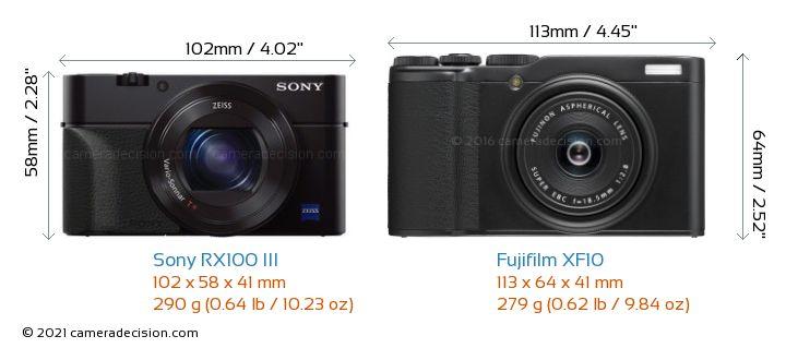 Sony RX100 III vs Fujifilm XF10 Camera Size Comparison - Front View