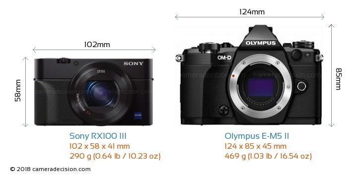 Sony RX100 III vs Olympus E-M5 II Camera Size Comparison - Front View
