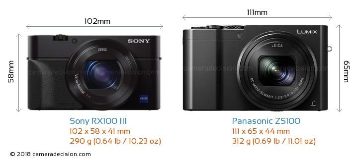 Sony RX100 III vs Panasonic ZS100 Camera Size Comparison - Front View