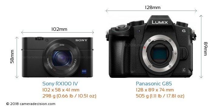 Sony RX100 IV vs Panasonic G85 Camera Size Comparison - Front View