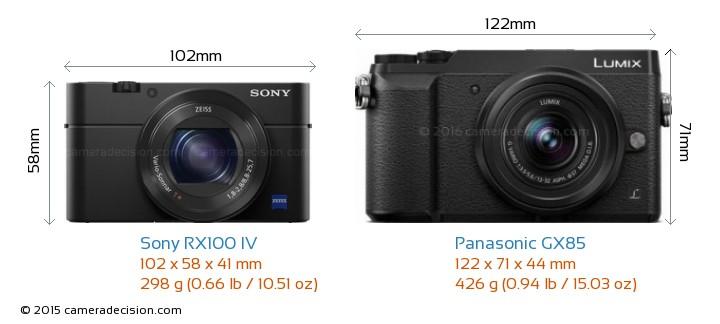 Sony RX100 IV vs Panasonic GX85 Camera Size Comparison - Front View
