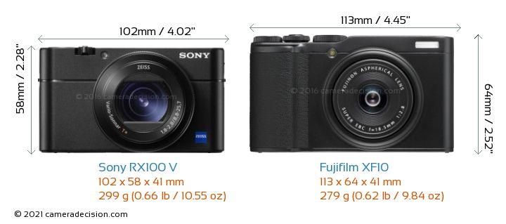 Sony RX100 V vs Fujifilm XF10 Camera Size Comparison - Front View