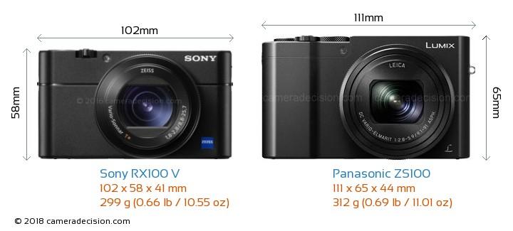 Sony RX100 V vs Panasonic ZS100 Camera Size Comparison - Front View