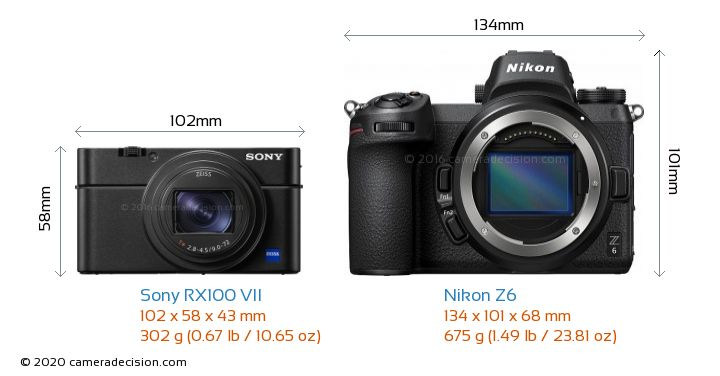 Sony RX100 VII vs Nikon Z6 Camera Size Comparison - Front View