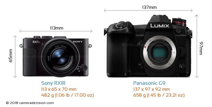 Sony RX1R vs Panasonic G9 Camera Size Comparison - Front View