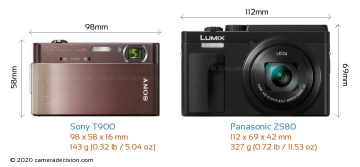 Sony T900 vs Panasonic ZS80 Camera Size Comparison - Front View