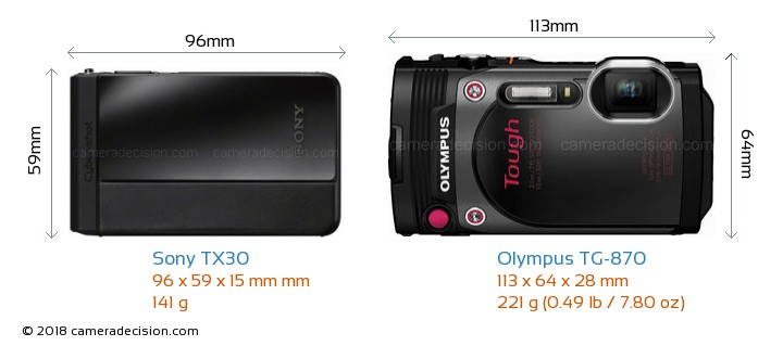 Sony TX30 vs Olympus TG-870 Camera Size Comparison - Front View