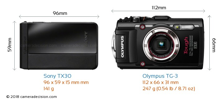 Sony TX30 vs Olympus TG-3 Camera Size Comparison - Front View